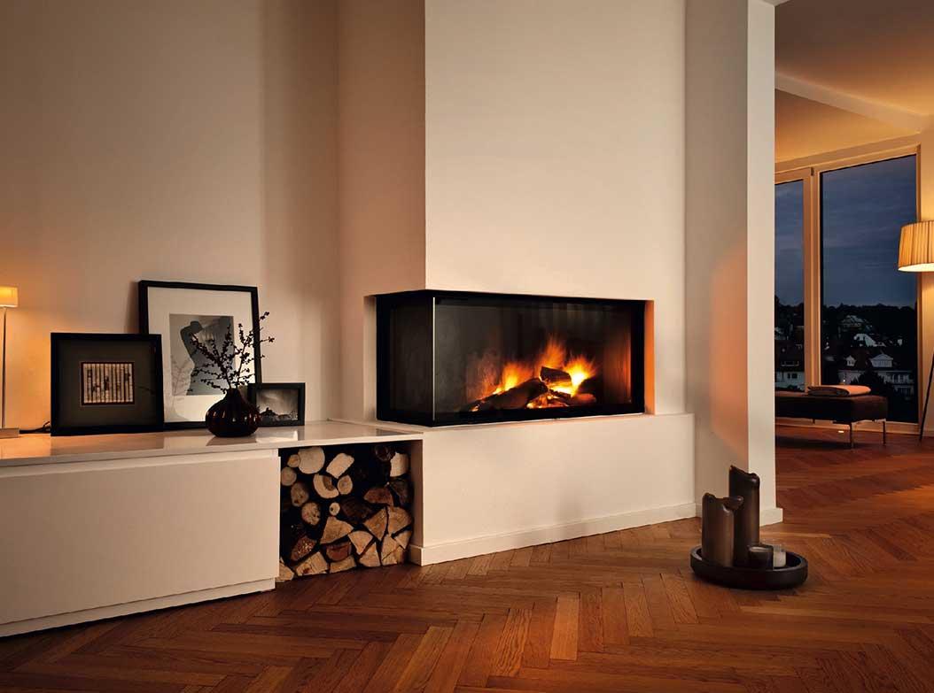 Foyer Design Bois : Poele a bois integrer dans une cheminee lsmydesign