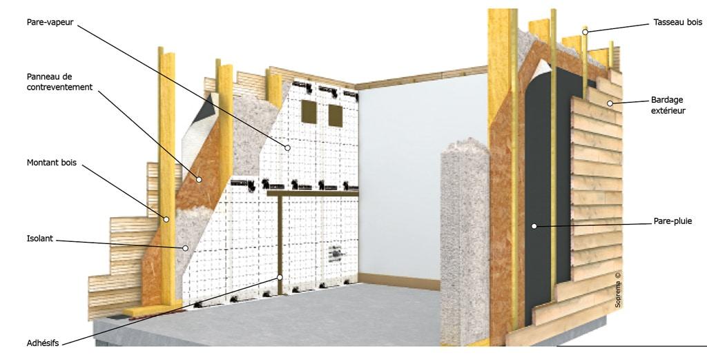 architecture bois magazine schema toit isolation murs films adhesifs etancheite revetement. Black Bedroom Furniture Sets. Home Design Ideas