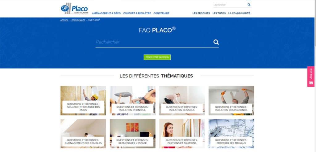 capture d'écran du site https://particuliers.placo.fr/communaute/faq-placo © Placo®