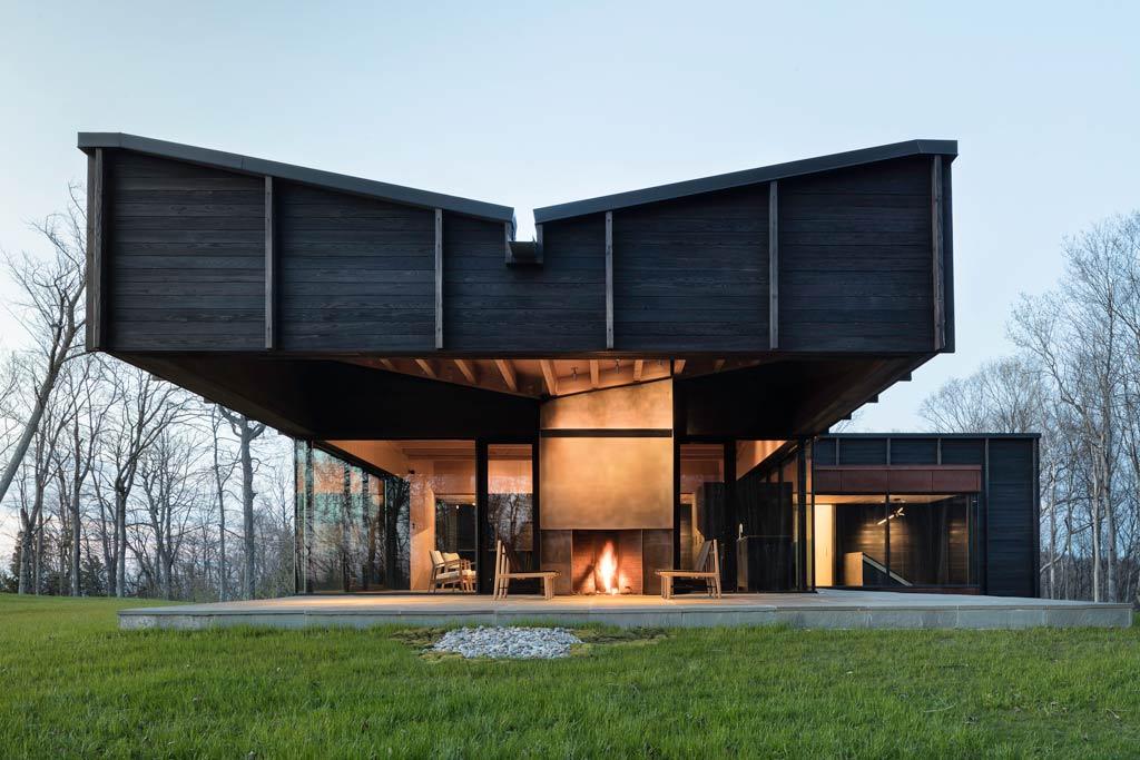 Maison bois papillon lac Michigan