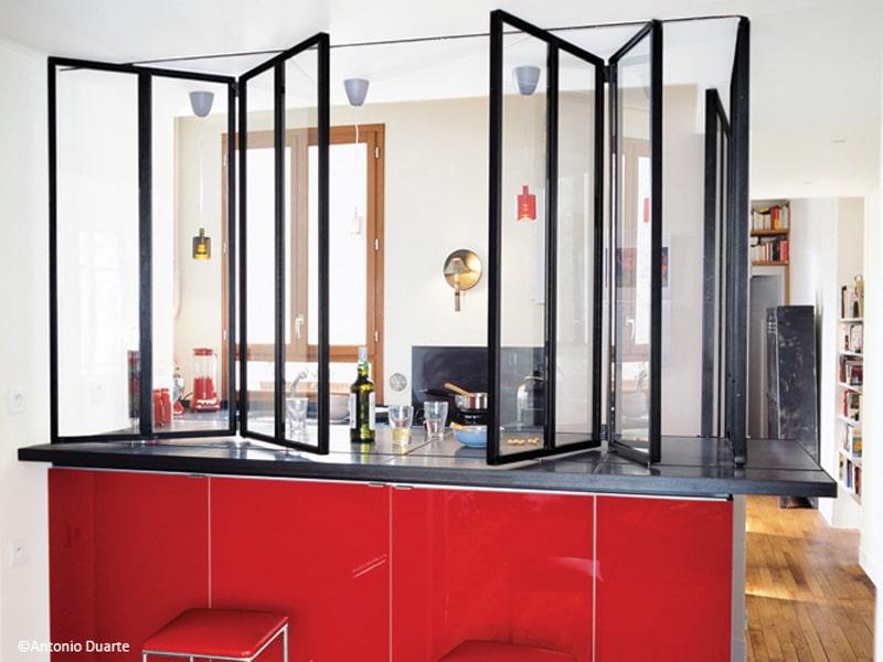 verrière coulissante pour separation cuisine salon