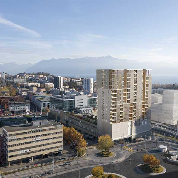 Tour en bois Malley Phare à Prilly (Suisse) © CCHE Lausanne SA Architecte Associé